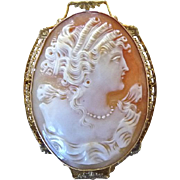 Edwardian 10K Gold Filigree Cameo Portrait Pin Pendant
