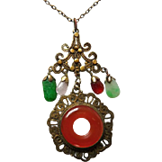 Art Deco Era Chinese Carnelian Necklace with Gemstone Dangles