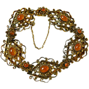 Vintage Art Deco Silver Vermeil Filigree Carnelian Bracelet