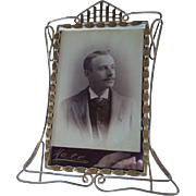 Antique English Brass Easel Picture Frame