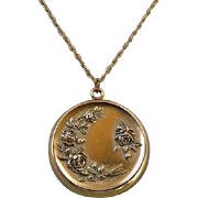 Victorian Art Nouveau Gold Filled Roses Locket Necklace
