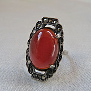 Art Deco Sterling Silver Carnelian Marcasite Ring