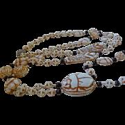SALE Art Deco Egyptian Revival Max Neiger Czech Glass Scarab Mummy Necklace