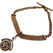Victorian Yellow Rose Gold Filled Mesh Watch Chain Bracelet with Fob