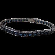 Art Deco Sterling Silver Channel Set Blue Glass Line Bracelet