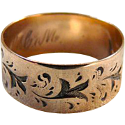 Victorian 10K Gold Patterned Wide Band Cigar Band Ring