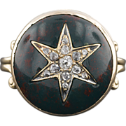 14k Gold Diamond & Bloodstone Star Ring, Antique Stick Pin Conversion Ring