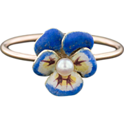 SOLD Blue Pansy Ring, 14k Gold Enamel & Pearl Ring