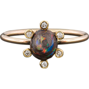 SOLD Boulder Opal and Diamond Ring, 14k Gold Halo Ring