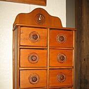 8 Drawer Primitive Spice Cabinet