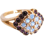 Vintage simulated amethyst and opal cocktail ring, size 8 1/2