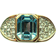 Vintage simulated blue topaz cocktail ring, size 8