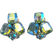Vintage Weiss Blue Aurora Borealis Rhinestone Clip Earrings