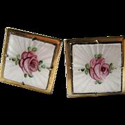 Vintage signed Coro Pegasus guilloche enamel rose cuff links