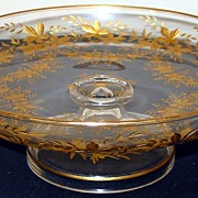 Comport Candy Dish Footed Glass with Gold Leaf Etching