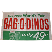 New York World's Fair Sinclair Bag-O-Dinos Sign 1964 65 Original & Bonus Dinos