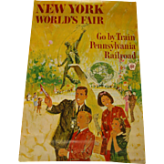 Pennsylvania Railroad New York World's Fair 1964 1965 Poster Signed Original