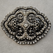 Large Victorian Pot Metal Black and Clear Paste Pin Brooch