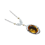 SALE Art Deco 14K White Gold Necklace Madeira Citrine Pendant Seed Pearls
