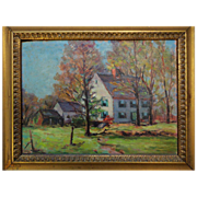 C1940s Impressionist Oil Painting on Board Country House 18' x 15""
