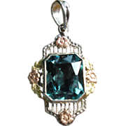 Stunning Art Deco 14K Blue Spinel Pendant White, Yellow and Rose Gold