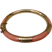 SOLD Vintage Angle Skin Pink Coral 14K Etched Gold Bangle Bracelet