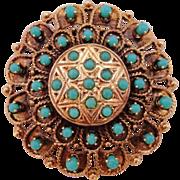 SALE Vintage 14K Star of David Turquoise Pin Pendant