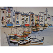 Southern France Harbour View by Listed Contemporary Artist Georges Damin (1942-)