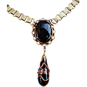 Victorian Style Brass Book Chain Murano Glass Drop Necklace by Sadie Green