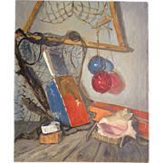 Vintage Oil on Board Fishing Equipment 20 x 24 Inches Shabby Chick