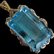 Humongous 14K Gold Diamonds 138 Carat Natural Blue Topaz Pendant with Appraisal