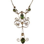 SALE Art Nouveau 14K Peridot diamonds Pearl Pendant Necklace