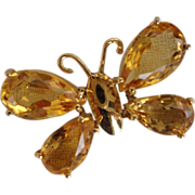 18K Yellow Gold Citrine Butterfly Pendant Slide 8 Carats