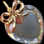 SALE Art Deco Sterling Vermeil Bow Crystal Heart Pendant Necklace