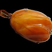 Vintage Carved Egg Yolk Baltic Butterscotch Amber Pendant Sterling Silver Vermeil