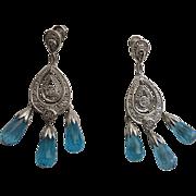 SALE Stunning Art Deco Style 14K White Gold Faceted Blue Topaz Chandelier Earrings