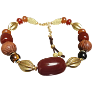 C1980 Ralph Lauren Genuine Carnelian, Tiger Eye, Carved Wood Earth Tone Necklace Asian Influen