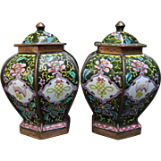 Pair Victorian Chinese Canton Enamel Ginger Jars Copper Base