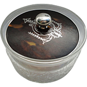 SALE C1920 English Birmingham Sterling Silver Lid Cut Crystal Vanity Powder Jar