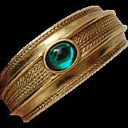 SALE Vintage Designer Bangle Bracelet Gilt with Jelly Belly Green Cabochon Duplaise
