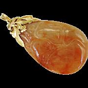 Rare Find! - Vintage Chinese Carved Orange Jadeite Jade Pendant 14kt Yellow Gold Mount