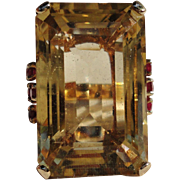 Huge 14K Yellow Rose Gold 40 Carats Citrine Ruby Dinner Ring