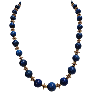 SALE High Quality 14K Yellow Gold Blue Lapis Lazuli Necklace