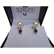 SALE Very Lovely Cultured Pearl & Ruby 14k White Gold Screwback Naomi