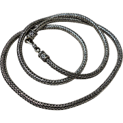 Heavy Woven Sterling Silver Bali Necklace 24 Inches