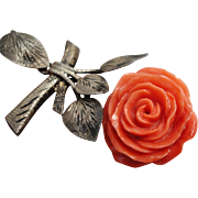 Most Beautiful Victorian Very Large Hand Carved Orange Coral Rose Pendant on Silver