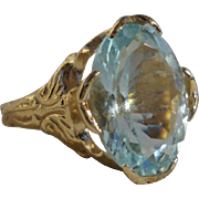 Wonderful Vintage 14K Yellow Gold 5.3 CT Large Untreated Aquamarine Ring