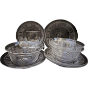 SALE PENDING C1900 Set 4 American Brilliant Cut Crystal Finger Bowls with Under Plate ABP