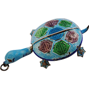 SALE Art Deco Chinese Sterling Silver Enamel Articulated Turtle Pendant