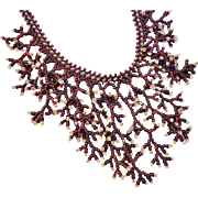 Stunning Seed Bead Bib Necklace Coral Branch Style Garnet Red